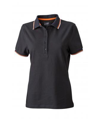 Ladies-Polo-Shirt-Black-White-Orange-T-Shirt-JN-965-1