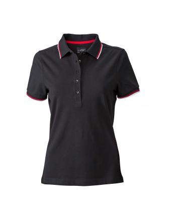 Ladies-Polo-Shirt-Black-White-Red-T-Shirt-JN-965-1