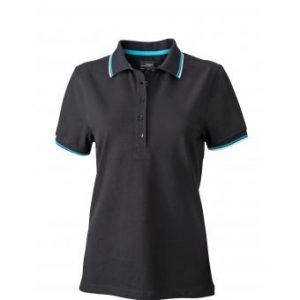 Ladies-Polo-Shirt-Black-White-Turquoise-T-Shirt-JN-965-1