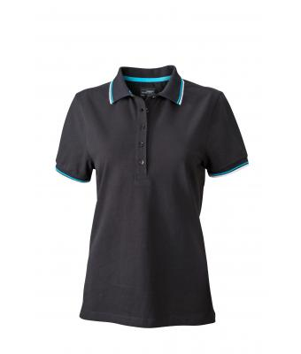 Ladies-Polo-Shirt-Black-White-Turquoise-T-Shirt-JN-965-1