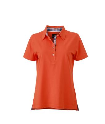 Ladies-Polo-Shirt-DarkOrange-Blue-White-T-Shirt-JN-969-1