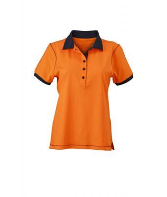 Ladies-Polo-Shirt-Orange-Navy-T-Shirt-JN-979-1