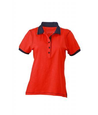 Ladies-Polo-Shirt-Tomato-Navy-T-Shirt-JN-979-1