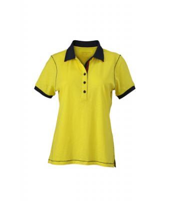 Ladies-Polo-Shirt-Yellow-Navy-T-Shirt-JN-979-1