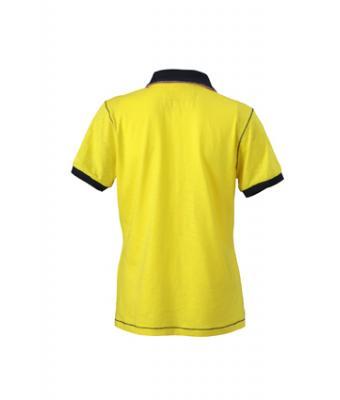 Ladies-Polo-Shirt-Yellow-Navy-T-Shirt-JN-979-2