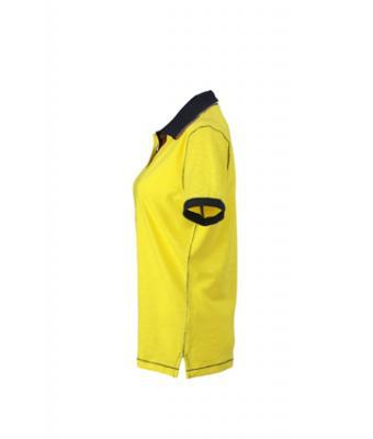 Ladies-Polo-Shirt-Yellow-Navy-T-Shirt-JN-979-3