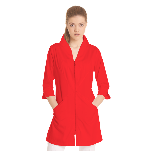 Ladies-white-coat-Norma-Red