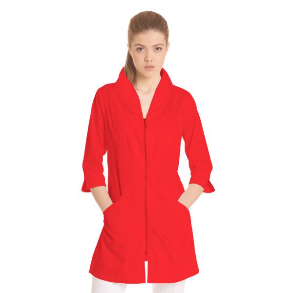 Ladies-white-coat-Norma-Red