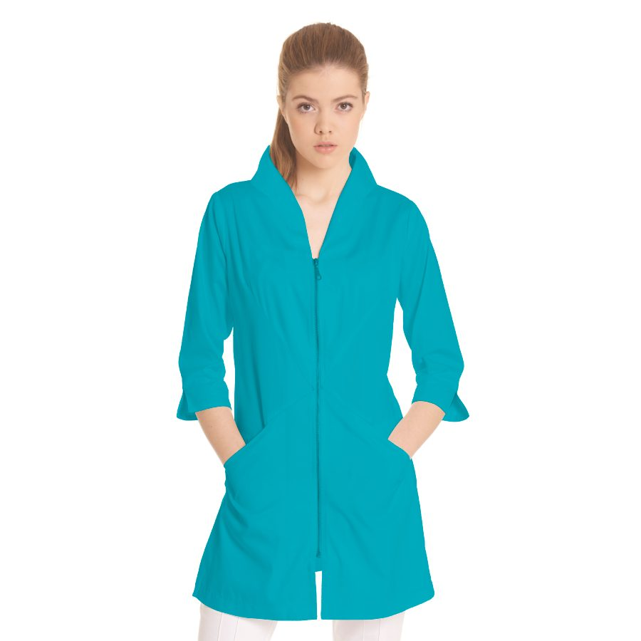 Ladies-white-coat-Norma-Turquoise
