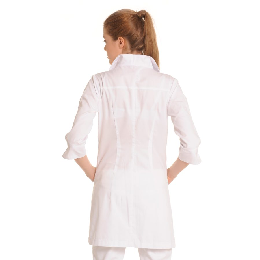Ladies-white-coat-Norma-White-Back