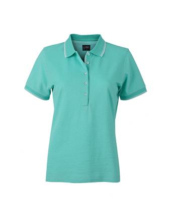 Women-Polo-Shirt-Caribbean-Green-White-T-Shirt-JN-703-1