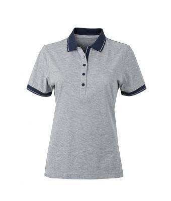 Women-Polo-Shirt-Grey-Heather-Navy-T-Shirt-JN-705-1