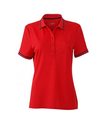 Women-Polo-Shirt-Red-Black-T-Shirt-JN-701-1