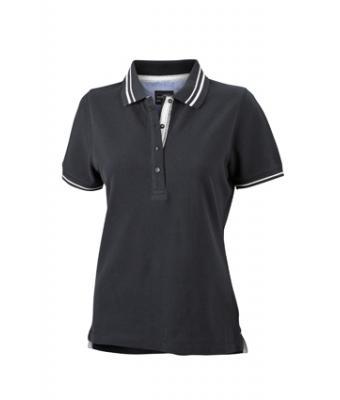 Womens-Polo-Shirt-Black-White-T-Shirt-JN-946-1