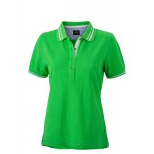 Womens-Polo-Shirt-Green-White-T-Shirt-JN-946-1