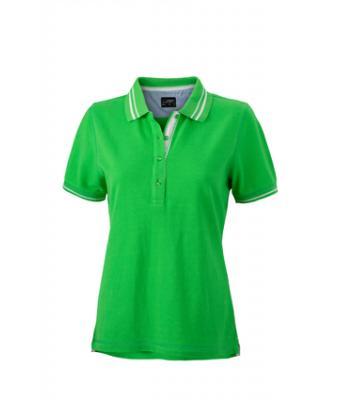 Womens-Polo-Shirt-Green-White-T-Shirt-JN-946-1