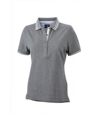 Womens-Polo-Shirt-Grey-Melange-White-T-Shirt-JN-946-1