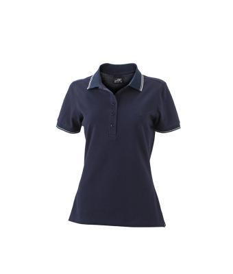 Womens-Polo-Shirt-Navy-White-T-Shirt-JN-985-1