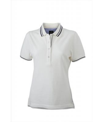 Womens-Polo-Shirt-White-Navy-T-Shirt-JN-946-1