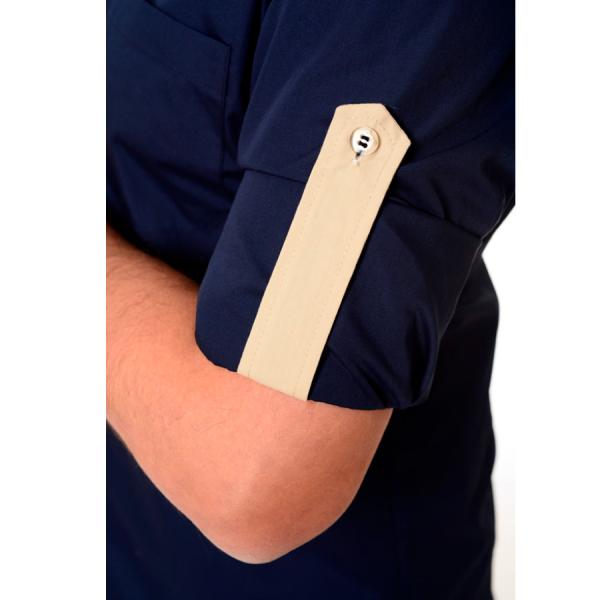 Embroidered-Work-Shirt-Оnda-Мen-navy-sleeve
