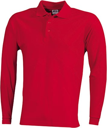 Mens-Long-Sleeve-Polo-Shirt-JN022-red