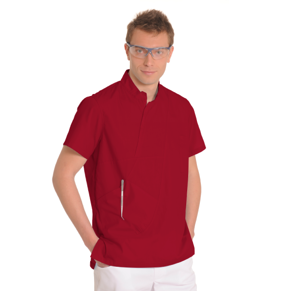 Mens-tunic-for-work-Aries-Red