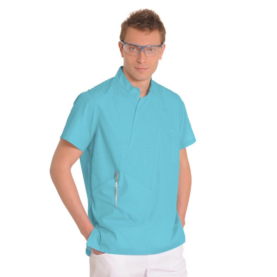 Mens-tunic-for-work-Aries-Turquoise