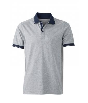 Polo-shirt-grey-melange-navy-JN706